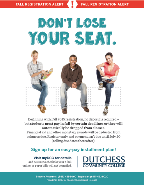 Don't Lose Your Seat - New Registration Guidelines for Fall 2015