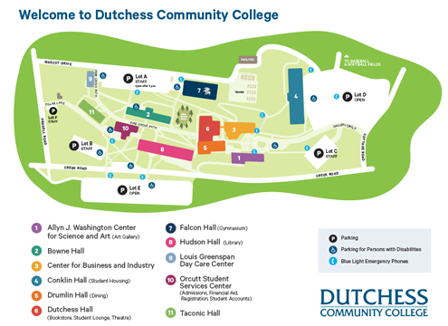 Map of Dutchess Community College Poughkeepsie Campus