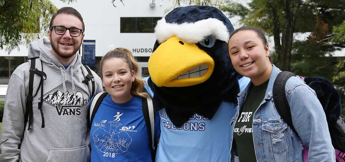 students with Falco