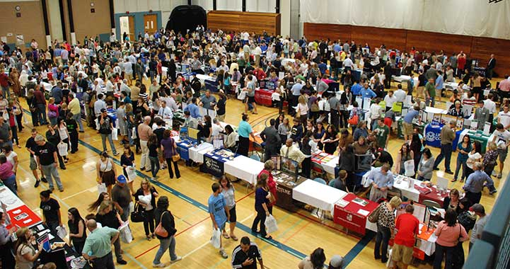 The main floor at College Fair in Falcon Hall